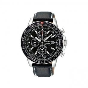 Gents steel Seiko solar chronograph bracelet watch.