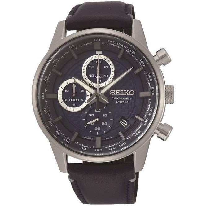 Seiko Watches Seiko Chronograph Blue Leather Strap Watch.