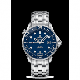 Steel Omega Seamaster classic with blue dial and bezel.