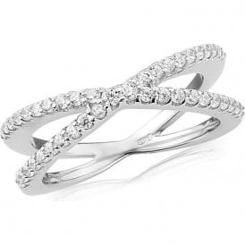 Sterling silver white cubic zirconia crossover ring