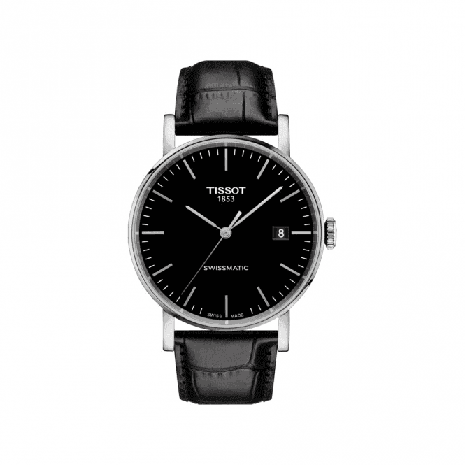Tissot Watches Swiss automatic gents black dial watch on leather strap