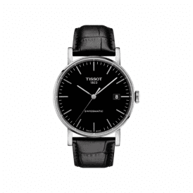 Swiss automatic gents black dial watch on leather strap