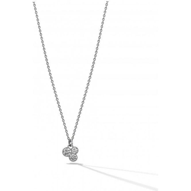 Triple diamond pendant in 18 carat white gold setting