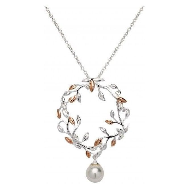 Unique Jewellery Silver and rose wreath pendant set with simulated pearl, MK-670