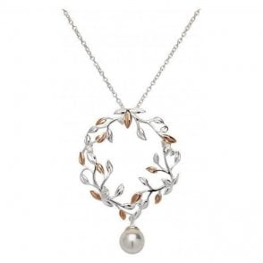 Silver and rose wreath pendant set with simulated pearl, MK-670