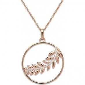 Silver Feather Circle Pendant, MK-582