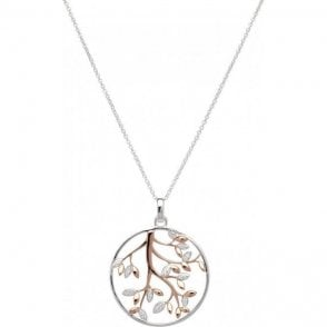 Silver open circle tree pendant & chain, MK-606