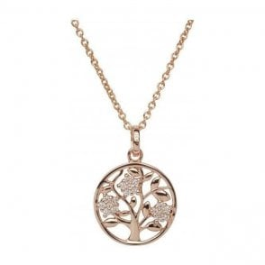 Silver rose plated circular tree pendant with chain, MK-675