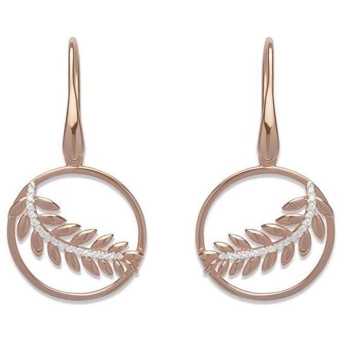 Unique Jewellery Silver rose plated fern drop earrings, ME-582