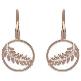 Silver rose plated fern drop earrings, ME-582