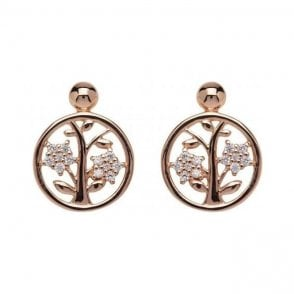Silver rose plated tree pattern circle studs, ME-675