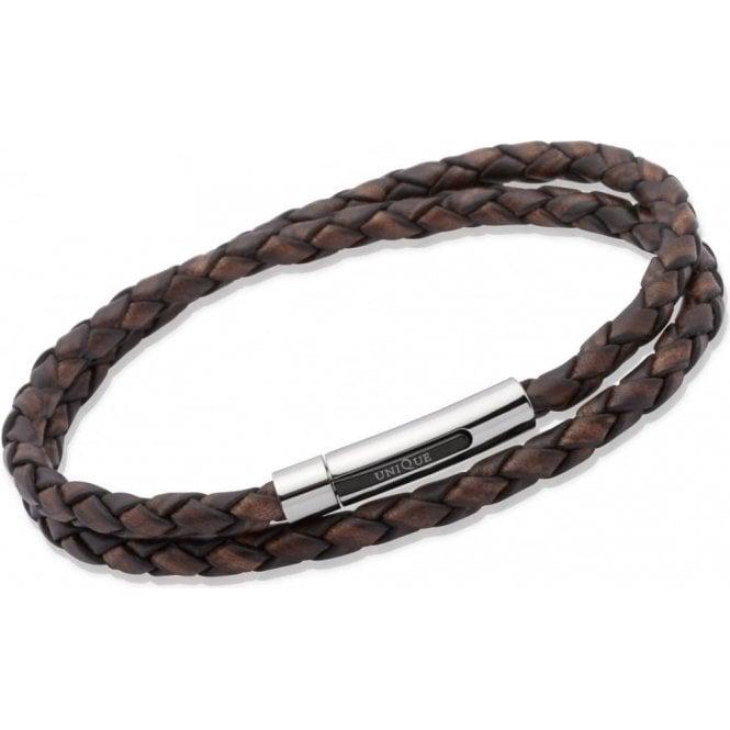 Unique Jewellery Unique Mens Antique Dark Brown Leather and Steel Bracelet