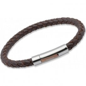 Unique Mens Dark Brown Leather and Steel Bracelet