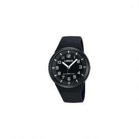 Unisex Lorus black resin strap watch with black dial. RRX47DX9