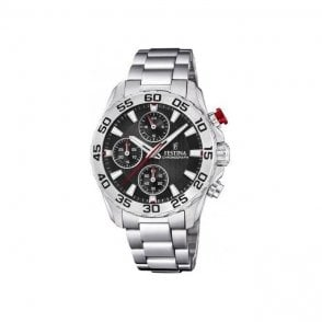 Unisex steel Festina chronograph watch with black dial.