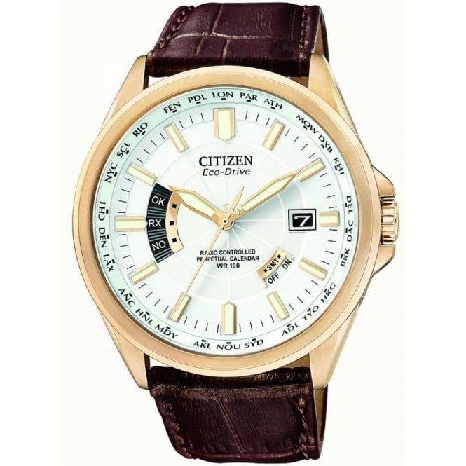 Citizen Watches World Perpetual White Dial Brown Leather Gent's Watch